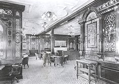 Titanic's First Class Smoking room.The decor of the great ship was Queen Ann,Old Dutch,Louis XIV,Empire Italian Renaissance,Georgian and Regence.It took 10 months to decorate the ship.