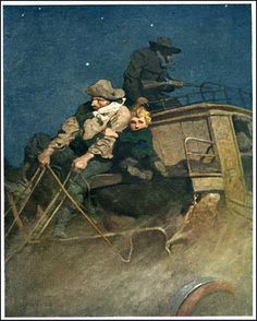 Illustration by N. Wyeth for Pike County Ballads by John Hay Jamie Wyeth, Andrew Wyeth, Nocturne, Illustrator, Nc Wyeth, Howard Pyle, Into The West, Cowboy Art, Great Paintings