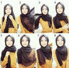 Classy Simple Black Hijab Tutorial Step by Step Tutorial Hijab Segitiga, Square Hijab Tutorial, Simple Hijab Tutorial, Pashmina Hijab Tutorial, Hijab Chic, Stylish Hijab, Mode Turban, Turban Hijab, Modern Hijab Fashion