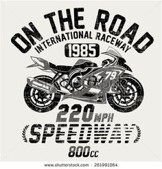 Motorcycle vintage racing typography, t-shirt graphics, vectors