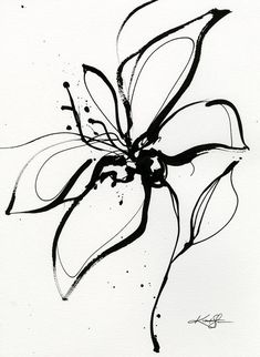 Abstract Flower Tattoos, Abstract Flowers, Black And White Sketches, Black And White Painting, Silk Painting, Watercolor Paintings, Easter Paintings, Tinta China, Paris Art
