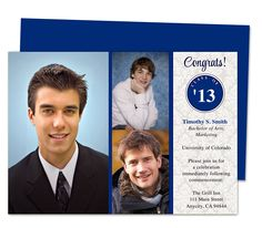Journey Graduation Announcement Invitation Template with room for 3 photos and fully editable text you can personalize.