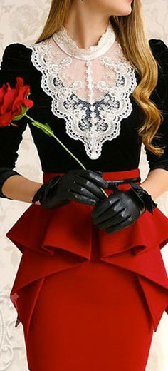 LACE AND VELVET HIGH COLLAR BLOUSE