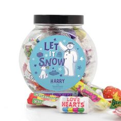 Personalised Sweet Jar - Snowman and Snowdog Snowman And The Snowdog, Cute Snowman, Sweet Jars, Retro Sweets, Secret Santa Gifts, Let It Snow, Christmas Treats, Brand Names, Snow Globes
