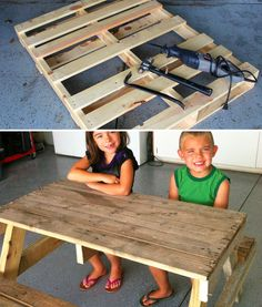 Is That a Pallet Swimming Pool? 24 DIY Pallet Outdoor Furniture Creations and Big Builds: #9 Cute pallet picnic table