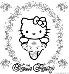 Hello Kitty coloring page with many lovely roses and Hello Kitty as a balerina. Free printable Hello Kitty Coloring Pages. Ballerina Coloring Pages, Dance Coloring Pages, Easter Coloring Pages, Coloring Pages For Girls, Cool Coloring Pages, Cartoon Coloring Pages, Coloring Pages To Print, Free Printable Coloring Pages, Coloring Sheets