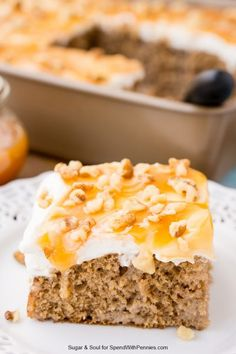 Caramel Spice Poke Cake is a sinfully sweet and seasonal dessert you'll want to make again and again. A moist spice cake topped with whipped cream, caramel, and nuts - it's crazy-good and perfect for the holidays, potlucks, and Sunday supper.