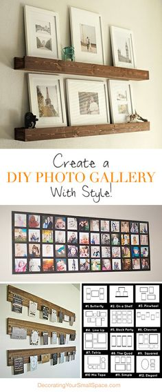 Create a DIY Photo Gallery with Style Lots of Ideas Tutorials! Diy Wall Art, Wall Decor, Photo Deco, Home And Deco, Diy Photo, Photo Displays, Home Projects, Diy Furniture, Diy Home Decor