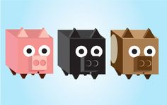 3 Square 3D Piggy Boxes Vector Set - http://www.welovesolo.com/3-square-3d-piggy-boxes-vector-set/