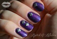 Color Club Wild at Heart holo manicure with silver Swarovski elements #LLGlam #manicure #purple #nails