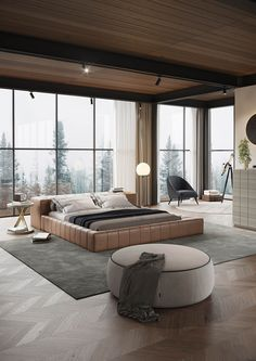 Modern bedroom with classic touches, with a set of straight lines and circumferences on which stand neutral tones, noble materials, and timeless textures. Bedroom Bed Design, Home Decor Bedroom, Modern Bedroom, Luxury Penthouse, Luxury Interior Design, Luxurious Bedrooms, Luxury Furniture, Future House, House Design