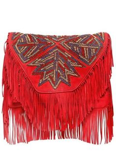 Large Canada Embroidered Suede Clutch -