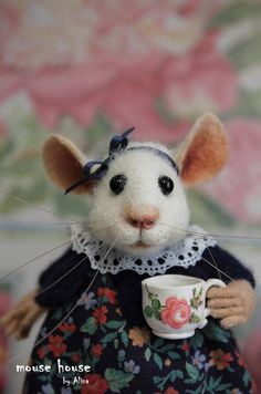 Mouse Doll with a Cup Felt Gift idea Dollhouse Art Doll Mouse