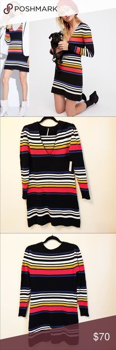6ad27ffd89 Free People Gidget striped Mini Sweater Dress Sz L
