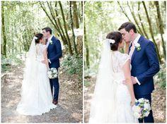 Italian wedding, Villa Catureglio.  Tuscany http://www.helencawtephotographyblog.com  Navy suit, lace wedding dress