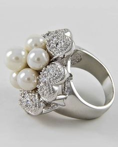 """R-#03-A  $25.00  Top Face : 1"""" DIA   Sizes: 6-7-8-9  Clear Cubic Zirconia   White Synthetic Pearl  Silver Tone"""
