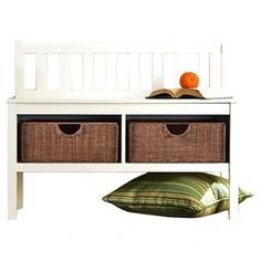 """Wood storage bench with two removable rattan baskets.Product: Storage benchConstruction Material: Wood and rattanColor: WhiteFeatures: Two storage basketsDimensions: 28.5"""" H x 36"""" W x 14.25"""" D"""