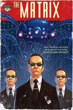 Matrix en plan portada de novela de sci-fi de los años 50