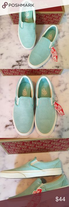 🎉Flash Sale🎉VANs NWB Perforated Suede Slip-Ons oh so cute! new with box  light blue perforated suede slip-on sneakers from VANs.   no trades      Flash Sale ... 25e31a827