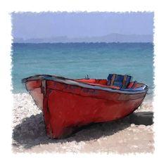 Red rowboat (dinghy) by John Leben