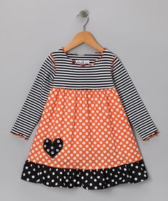 Take a look at this Orange Polka Dot Heart Dress - Infant, Toddler & Girls by Playtime Princess