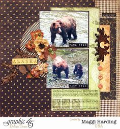 A beautiful double layout from Maggi using Botanicabella #graphic45