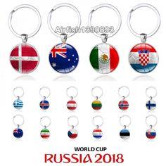 616ef4bde03 New World Cup Soccer Keychain Australia Demark Croatia Mexica Iran Iceland  Flag Football Keyring Key Chains