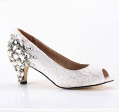 White Lace Bridal Shoes with Heel Crystal Embellishments in Custom Heel Heights