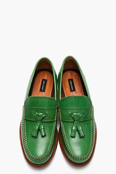 DSQUARED2 Green Leather Classic College Tassled Penny Loafers