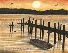 Sunset Lake artwork drawing $99 - $149 size preference click website Drawing Artwork, Drawings, Abstract Artwork, Artwork, Abstract, Lake Artwork, Sunset