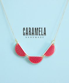 Watermelon Necklace / Fruit Necklace by CaramelaHandmade on Etsy