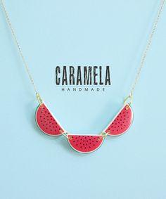 Watermelon Necklace / Fruit  Necklace by CaramelaHandmade on Etsy