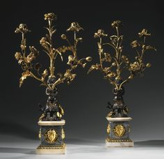 A pair of Louis XVI ormolu and patinated bronze three-light candelabra, attributed to Pierre Gouthière circa 1780-1785 | Lot | Sotheby's