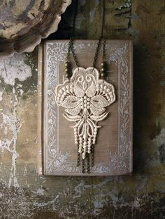 lace necklace LOTUS by whiteowl on Etsy