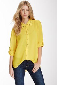 Long Sleeve Stud Collar Shirt by Sienna Rose on @HauteLook