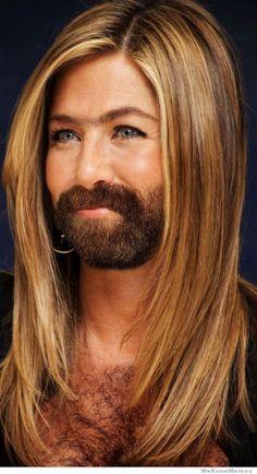 Female Celebs with beards, oh my word, creepy.