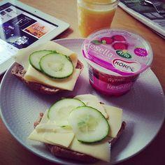 Toast w/ cheese and cucumber, greek yogurt and orange juice! Mmm #breakfasttime
