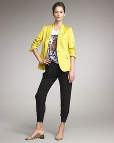 One-Button Blazer, Tiger Tee & Knit Harem Pants by Stella McCartney at Bergdorf Goodman.