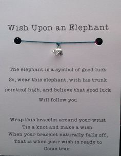 Elephant Wish Bracelet, Sterling Silver Elephant Charm, Good Luck, Best Friend by JennaKlineDesigns on Etsy https://www.etsy.com/listing/167148167/elephant-wish-bracelet-sterling-silver