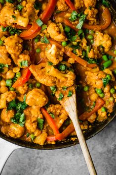 Flavorful Thai peanut coconut cauliflower chickpea curry is packed with bold flavors and plant-based protein. Make this cozy, vegetarian dish in one pan for the perfect weekday meal! Veggie Recipes, Indian Food Recipes, Asian Recipes, Whole Food Recipes, Vegetarian Recipes, Cooking Recipes, Vegetarian Dish, Healthy Recipes, Main Meal Recipes