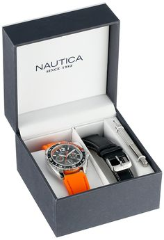 Nautica Unisex N09908G Sport Ring Multifunction Stainless Steel Watch With Two Interchangable Bands. Sporty round watch featuring black and orange top ring and black dial with day, date, and 24-hour subdials. 39 mm stainless steel case with mineral dial window. Quartz movement with analog display. Inlcudes two buckle-closure bands: one orange resin and one black leather with contrast stitching. Water resistant to 50 m (165 ft).