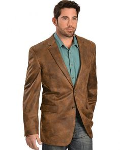 Vintage Leather Men's Distressed Faux Leather Blazer