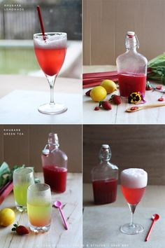 NATURAL RED WINTER CORDIAL (A healthy homemade cordial made with rhubarb, strawberries and lemon to perk up your lemonade or cup of hot peppermint tea.) Recipe from Cook Republic.