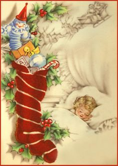 Free Vintage Christmas Clip Art | Clip Art of a Christmas Stocking Vintage Card