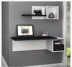 escritorio flotante con repisas en mdf