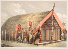 J W Giles (Artist), George French Angas (Related Artist) - Maketu House, Otawhao Pah, built by Puatia to commemorate the taking of Maketu Polynesian People, Polynesian Islands, Maori People, Maori Designs, Maori Art, Sculpture Art, Metal Sculptures, Abstract Sculpture, Bronze Sculpture