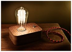 Edison LampWood LampWooden Edison LampTable by MasterWoodUA Edison Lamp, Steampunk Lamp, Retro, Lights, Unique Jewelry, Handmade Gifts, Industrial, Vintage, Diy