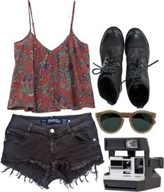 """Brandy"" by simpleandyoung on Polyvore: faded black denim cut off shorts + flowy red western/aztec tank + black combat boots + vintage sunglasses + polaroid"
