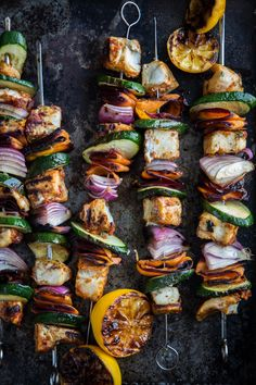 Its almost summer time again...fire up that grill...bbq chicken, zucchini, red onion , lemon, and sweet pepper