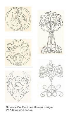 Embroidery, art nouveau.  Frances Caulfield designs for download, V&A Museum, London